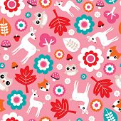 Seamless girl baby nursery woodland illustration background pattern in vector
