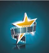 Film Strip Roll With Gold Star. Vector Cinema Background.