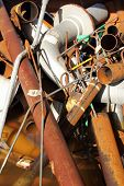 foto of ferrous metal  - A collection of Scrap metal ready for recycling  - JPG