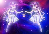 foto of manga  - Manga style illustration of zodiac sign on cosmic background - JPG