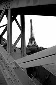 image of mona lisa  - Iron Construction of one of the famoust european and french landmark Eiffel Tower in Paris - JPG