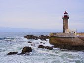 Lighthouse on the Porto Coastline