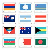 Twelve National Flags On Metal Texture Plates