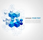 image of cube  - Abstract blue cubes vector background - JPG