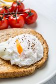Poached Eggs on  Wholegrain Bread Toasts