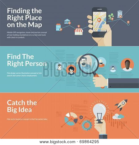 Concepts For Finding The Right Place On The Map For Travel And Tourism,  Find The Right Person For Employee Selection, And Catch The Big Idea In  Business. ...