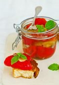 stock photo of marinade  - marinaded in Italian sweet pepper on crackling bread - JPG