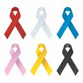 Collection of 6 color awareness ribbons. Vector illustration pic.