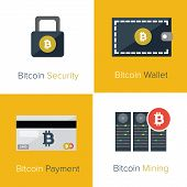 stock photo of bitcoin  - Flat bitcoin icon set for web or app - JPG