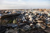 image of landfills  - Piles of garbage on the city landfill - JPG