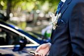 picture of boutonniere  - Close Up of White Flower Boutonniere on Formal Black Tuxedo - JPG