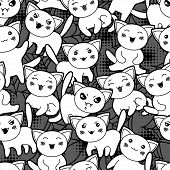pic of kawaii  - Seamless halloween kawaii cartoon pattern with cute cats - JPG
