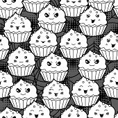 stock photo of kawaii  - Seamless halloween kawaii cartoon pattern with cute cupcakes - JPG