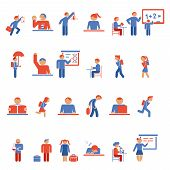 picture of classroom  - Large collection of colorful children in school flat icons depicting various activities outside the classroom and students at desks  learning   and teaching inside the classroom - JPG