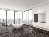 pic of bath tub  - Modern white minimalist bathroom interior with a freestanding bath tub and recessed wall alcove with wrap around floor - JPG