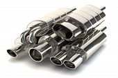 stock photo of exhaust pipes  - Set of exhaust pipes isolated on white background - JPG