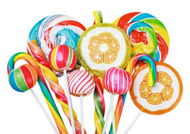 pic of lollipops  - Colorful candies and lollipops isolated on white background - JPG