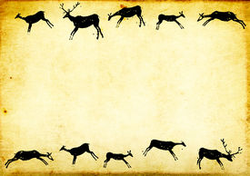 stock photo of cave-dweller  - Background with paper texture and drawings of cavemen - JPG