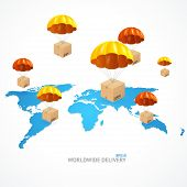 foto of shipping receiving  - Vector concept of shipping around the world - JPG