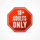 image of adults only  - Vector Round Icon of Adults only sign on white - JPG