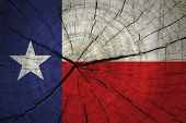 foto of texas state flag  - Texas State Flag painted on wood texture - JPG