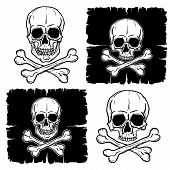 stock photo of freehand drawing  - Set of Skull and Crossbones isolated over white background - JPG
