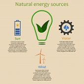 foto of hydroelectric power  - Infographics of natural energy sources - JPG