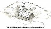 image of cash  - The businessman just discovered hidden treasure - JPG