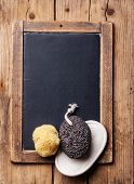 image of pumice-stone  - Bath Spa Setting with pumice and natural wild sponge on chalk board - JPG