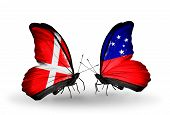 image of samoa  - Two butterflies with flags on wings as symbol of relations Denmark and Samoa - JPG