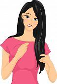 foto of premature  - Illustration of a Girl Feeling Distressed After Finding a White Strand of Hair - JPG