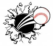stock photo of projectile  - Sports Baseball violently busting through the wall - JPG