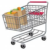 image of grocery cart  - An Illustration of a shopping cart with bags of groceries - JPG