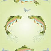 picture of carnivores  - Seamless  texture American trout carnivore jumps vector illustration - JPG