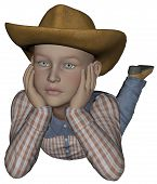 picture of vaquero  - 3D rendered young cowpoke on white background isolated - JPG