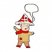 picture of magical-mushroom  - cartoon magical mushroom man with speech bubble - JPG
