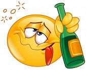 foto of hangover  - Yellow ball holding an alcoholic drink bottle - JPG