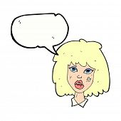 stock photo of bruises  - cartoon woman with bruised face with speech bubble - JPG