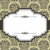 picture of damask  - Vintage frame on seamless damask background - JPG