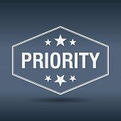 stock photo of priorities  - priority hexagonal white vintage retro style label - JPG