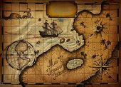 stock photo of treasure map  - Map of Treasure Island with the specified path and blank space for text - JPG
