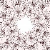 stock photo of geranium  - Geranium flowers frame engraving on white background - JPG