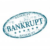 stock photo of oval  - Blue grunge rubber oval stamp with the word bankrupt written inside the stamp - JPG