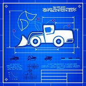 picture of wheel loader  - Front wheel loader symbol stylized blueprint technical drawing - JPG