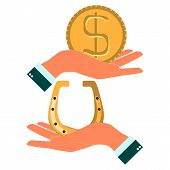 picture of flux  - Hands holding a horseshoe and dollar coin to pick up an object in flat style vector illustration - JPG
