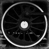 stock photo of locomotive  - Vintage wheel of old steam locomotive background - JPG