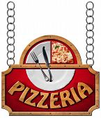 stock photo of food chain  - Sign with wooden frame and text pizzeria white plate with a slice of pizza and silver cutlery - JPG