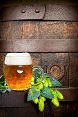 image of hop-plant  - beer glass and hops with old wooden barrel - JPG
