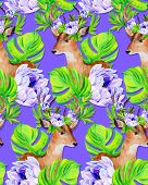 stock photo of deer horn  - seamless hipster pattern with deer portrait in flowers with wreath in his horns - JPG