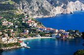 picture of greek-island  - Assos village and beautiful sea bay - JPG